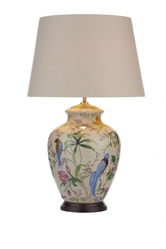 Dar Mimosa Table Lamp White/ Floral/ Bird Base Only MIM4202 (Class 2 Double Insulated)